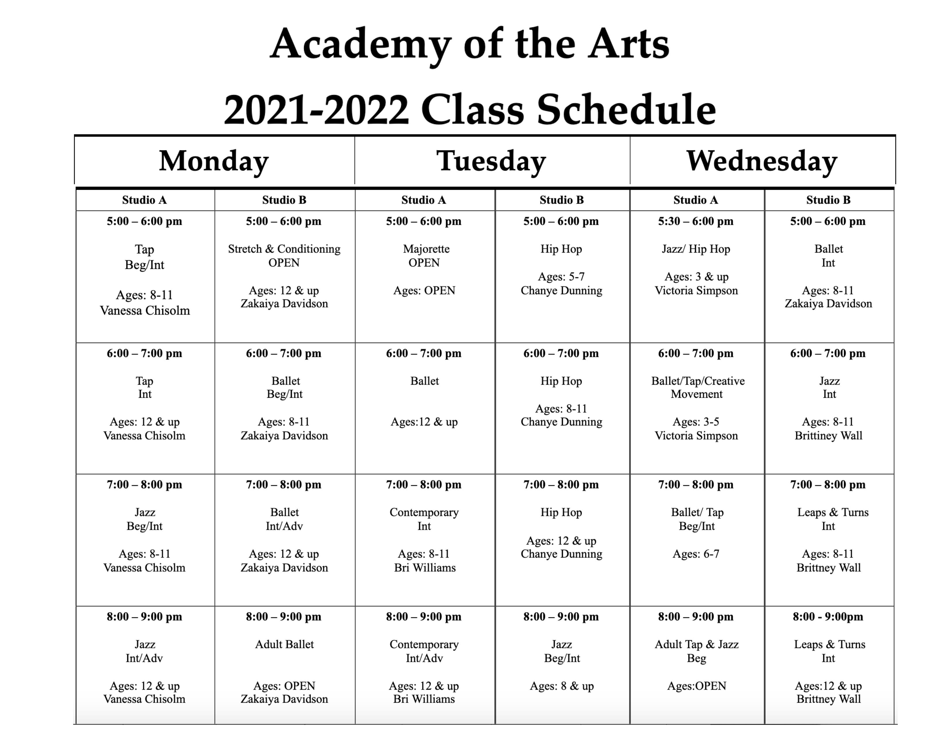 2021-2022 Class Schedule-1