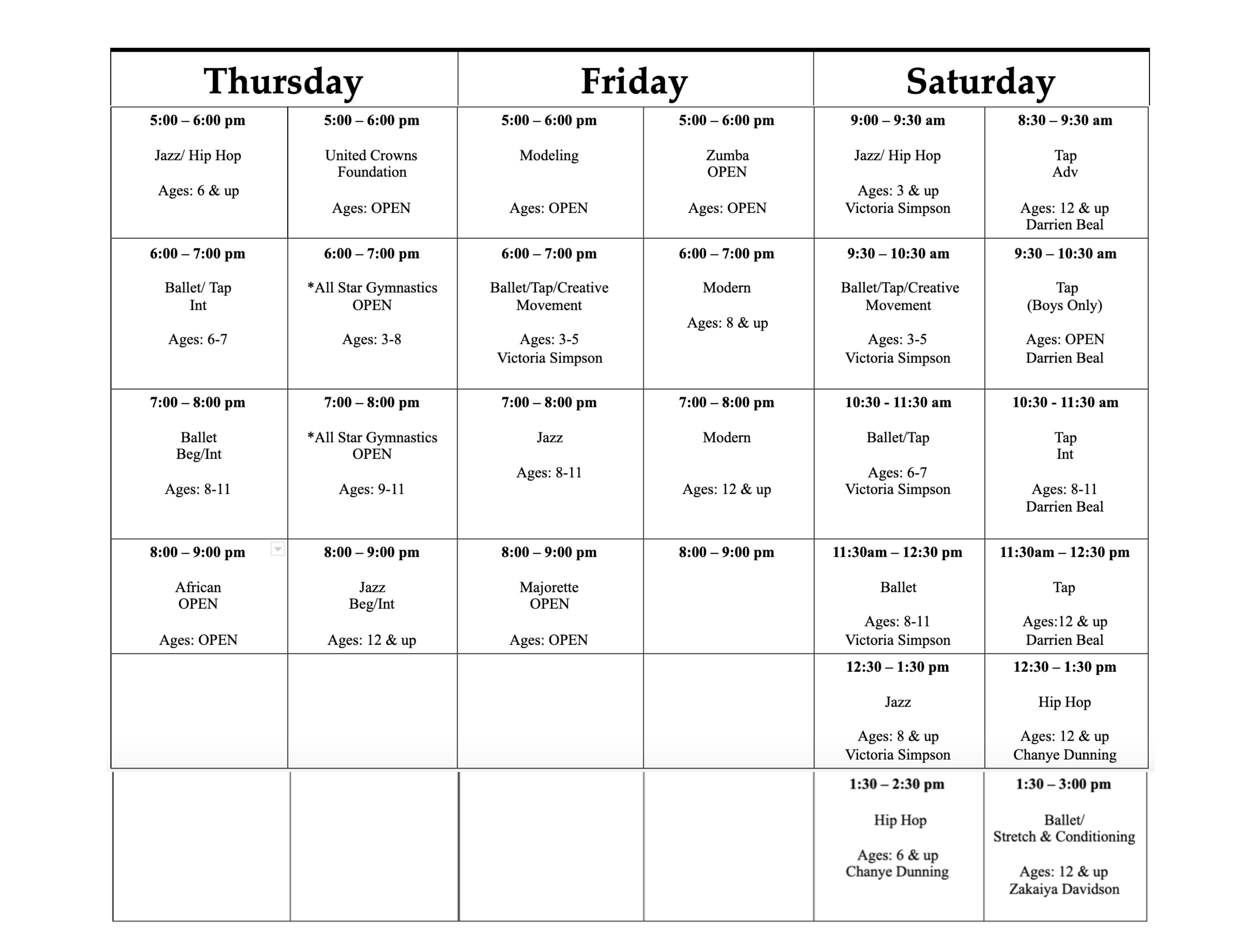 2021-2022 Class Schedule-2